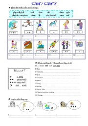 English worksheet: Can can´t /capacity