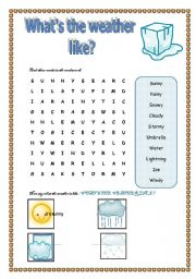 english worksheet about the weather 2 pages. Black Bedroom Furniture Sets. Home Design Ideas