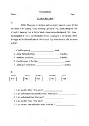 English Worksheet: after - before