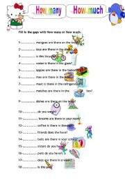 English Worksheets: How Many, How Much (part 1)