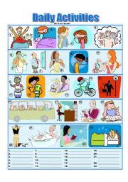 English Worksheet: Daily Activities - Picture Dictionary - Fill in the Blanks