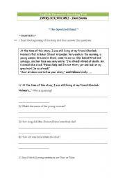 English Worksheet: Sherlock Holmes Short Story test ( The Speckled Band )