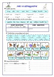 English worksheet: The comparative (animals) and opposites