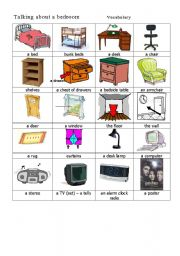 English worksheet in a bedroom vocabulary for Bedroom furniture vocabulary