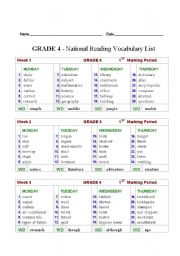 English worksheets: 4th Grade National Vocabulary List