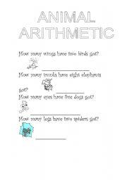 English Worksheets: animal arithmetic