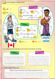 English Worksheets: Giving Personal Information, Describind and Comparing people
