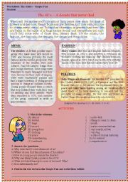 English Worksheets: Reading comprehension about the sixties
