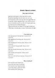 English Worksheets: Speech contest texts