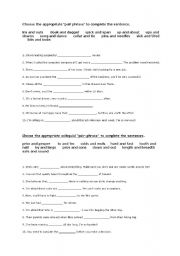 English Worksheets: � PAIR PHRASES