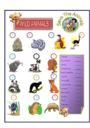 English Worksheets: Wild Animals - Match Part -2
