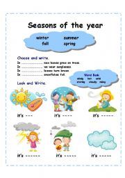 English Worksheet: Seasons of the year (2 pages)