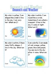 English Worksheets: Seasons and Weather Riddle Cards