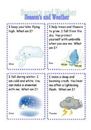 English Worksheets: Seasons and Weather Riddle Cards (2nd set)