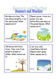 English Worksheet: Seasons and Weather Riddle Cards (3rd set)