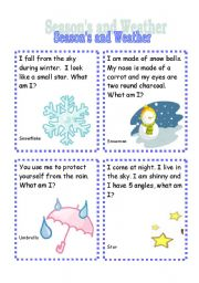 seasons and weather riddle cards 4th set esl worksheet by azza 20. Black Bedroom Furniture Sets. Home Design Ideas