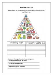 English Worksheet: Food Pyramid - Likes and Dislikes