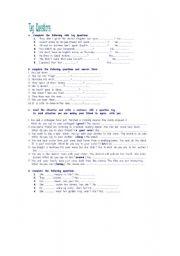 English Worksheets: tag  quesion