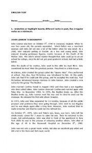 English Worksheets: Biography reading comprehension test