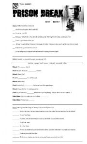 English Worksheets: Video: Prison Break - season 1 episode 1