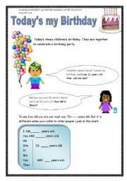 English Worksheet: Today�s my birthday (3 pages)