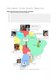 English Worksheet: CHILDREN FROM SOUTH AMERICA