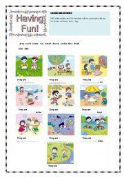 English Worksheets: Having fun! Leisure time activities (1/2)