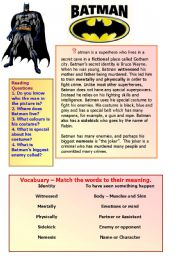English Worksheet: Batman