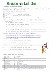 English Worksheets: revison