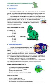 English Worksheets: Dinosaurs Reading Comprehension