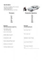 English Worksheet: Possessive Adjectives (Apostrophe)