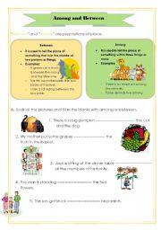 English Worksheet: Among and Between