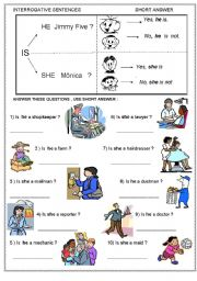 English Worksheets: WHO IS HE / SHE ? TO BE ; INTERROGATIVE (YES/NO QUESTIONS AND SHORT ANSWER) STRUCTURES , JOBS  - PART 4