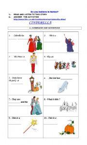 English teaching worksheets: Cinderella