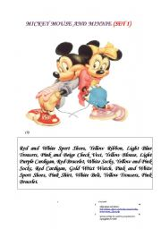 English Worksheet: Mickey Mouse and Minnie Set 1