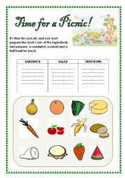 English Worksheet: Time for a picnic!