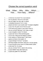 English Worksheet: Choose the correct question word