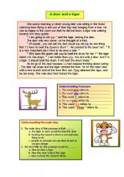 English Worksheets: A deer and a tiger