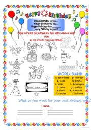 English Worksheet: Birthday Party Activity