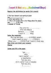 English worksheet: I want it that way Backstreet Boys