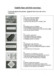 English Worksheets: ENGLISH SIGNS AND THEIR MEANINGS