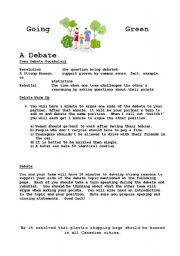 English Worksheets: Going Green: A Debate
