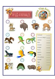 English Worksheets: Wild Animals - Match Part - 3