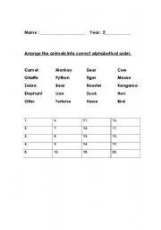 English Worksheets: Arrange animals into alphabetical order