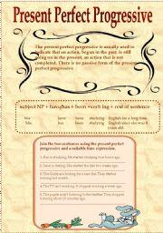 English Worksheet: Present Perfect Progressive