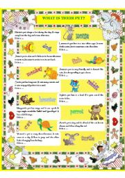 English Worksheet: WHAT IS THEIR PET?