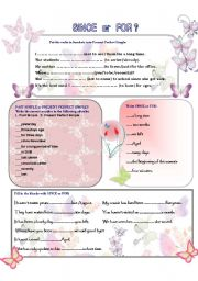 English Worksheets: SINCE -- FOR