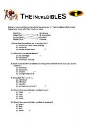 the incredibles multiple choice question sheet esl worksheet by amybennett. Black Bedroom Furniture Sets. Home Design Ideas