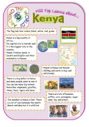 English Worksheet: Kenya - an introduction to the country and culture