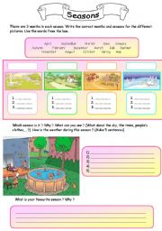 English Worksheet: Seasons & Months